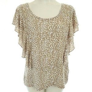 French Laundry XL Top Ruffle Flutter Sleeves Anima